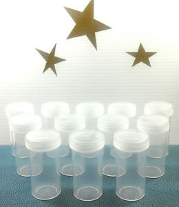 12-Clear-PP-Plastic-Pill-Bottles-JARS-Clear-Screw-LIDS-Container-3814-DecoJars