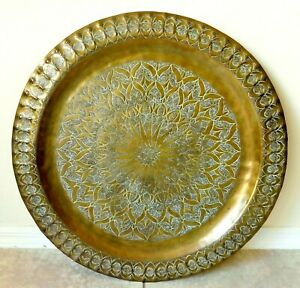 Large-Antique-Vtg-25-034-Islamic-Persian-Solid-Brass-Hand-Chased-Wall-Plaque-Tray