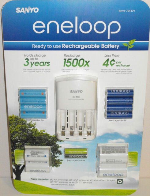 SANYO ENELOOP NiMH RECHARGEABLE BATTERIES AA x8 AAA x2 BATTERY CHARGER x1 SPACER