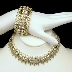 BSK-Vintage-Necklace-Wide-Bracelet-Set-Gorgeous-AB-Rhinestones-High-Quality-EUC