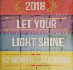 "NEW Let Your Light Shine 12 Month 2018 Wall Calendar 12""X24"""