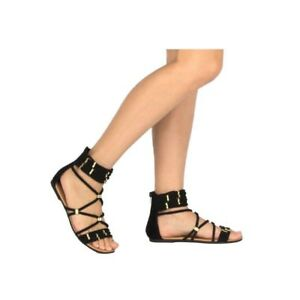 f93f23d04a9b5 Details about New Qupid Black Gold Hardware Braided Rope Gladiator Flat  Sandal Ankle Wrap Shoe