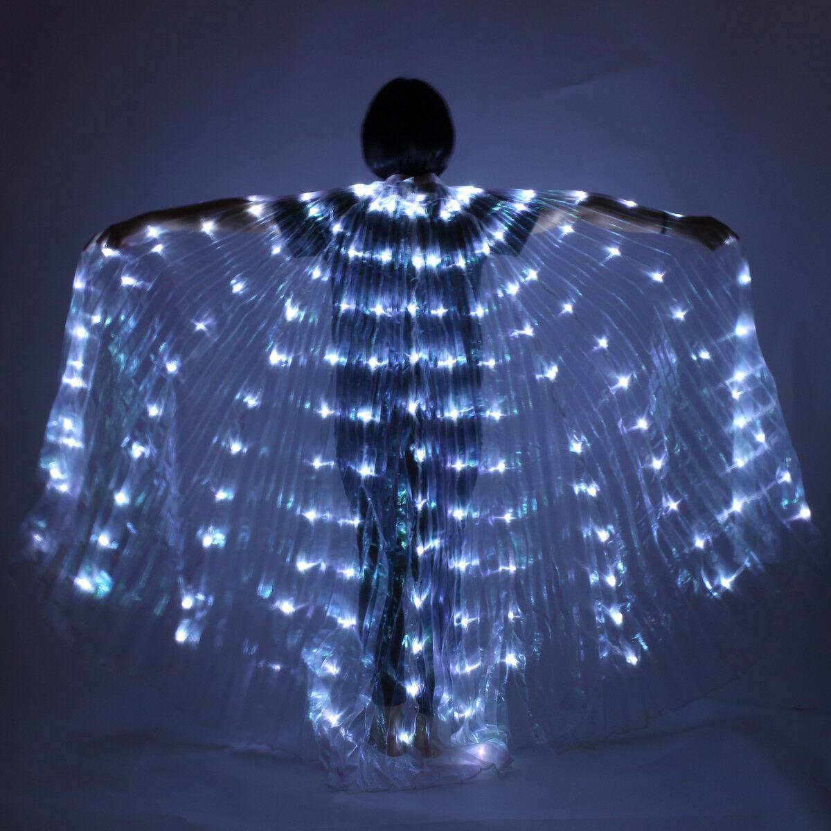 Damen LED Licht Licht Licht Bauchtanz Flügel Kostüme Angel Wing Schleier Kleidung 360 ° 2a87fa