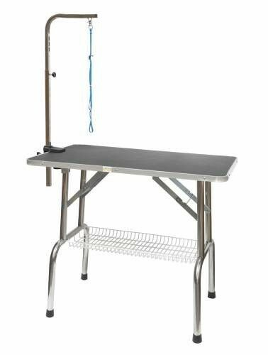 Go Pet Club 36 in. Heavy Duty Stainless steel Pet Dog Grooming Table with Arm