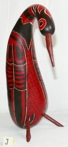 Kalebassen Kürbis 22-25 cm Reiher Vogel Figur Peru Handarbeit geschnitzt,Retro