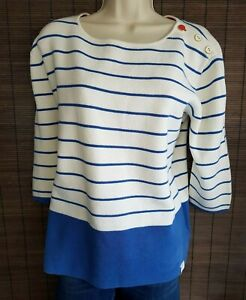 JOULES-WOMENS-JUMPER-TOP-UK-14-WHITE-BLUE-STRIPED-3-4-SLEEVE