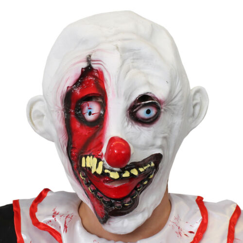 CLOWN MASK HALLOWEEN LATEX KILLER TWISTED SCARY HORROR FANCY DRESS PARTY COSTUME