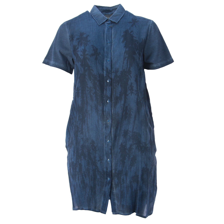 Marina Rinaldi Damen Blau Oleandro Bedruckt Hemd Kleid Nwt
