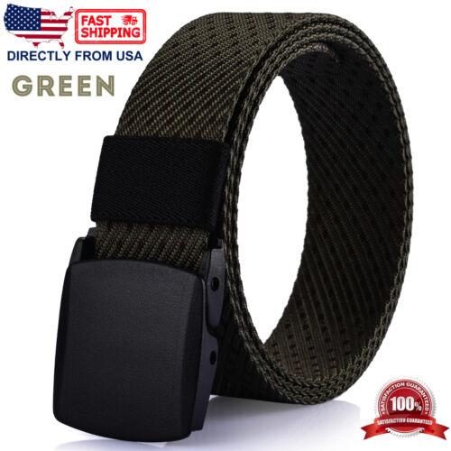 No Metal Parts Plastic Buckle Nylon Webbed Belt Men/'s Casual Dress Belt