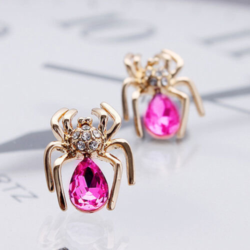 Women Trendy Crystal  Spider Stud Earring Chic Rhinestone Insect Earrings FO