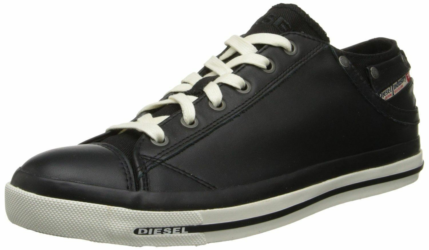 Diesel Exposure iv Black White New Womens Leather Lo Top Trainers Shoes Boots