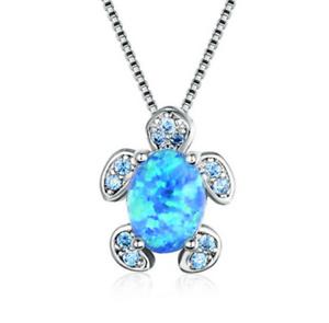 Fashion Femme argent 925 tortue bleu opale de feu Charme Collier Pendentif Chaîne Nouveau
