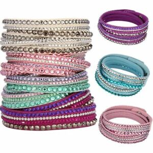 frauen-rosa-schmuck-baendchen-leder-wickeln-crystal-manschette-armband-armband