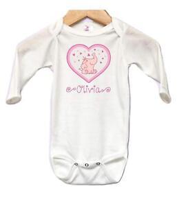 9988f6615 Image is loading Elephant-Hearts-Baby-Onesie-Bodysuit-Long-Sleeve- Personalized-