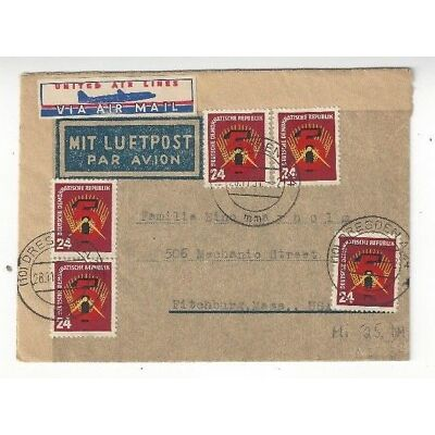1951 Dresden German Dem Rep DDR Airmail to Fitchburg MA, Five 24pf #89
