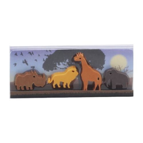 Safari Gommes Pack 4 animaux sauvages Papeterie École Arts Crafts Kids Childs