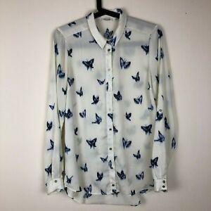 River-Island-Liquid-Silk-White-Button-Up-Shirt-Blouse-Blue-Butterfly-Size-8