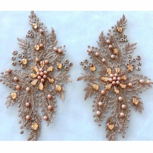 Perles Broderie Show Robe Appliqué Floral costume robe de mariage dentelle 1 paire