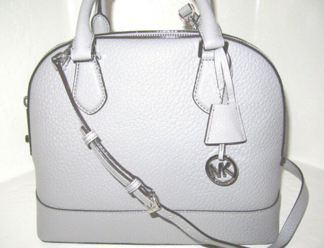 New Michael Kors Smythe Pearl Grey NEWEST STYLE Large Dome Satchel Bag NWT $358