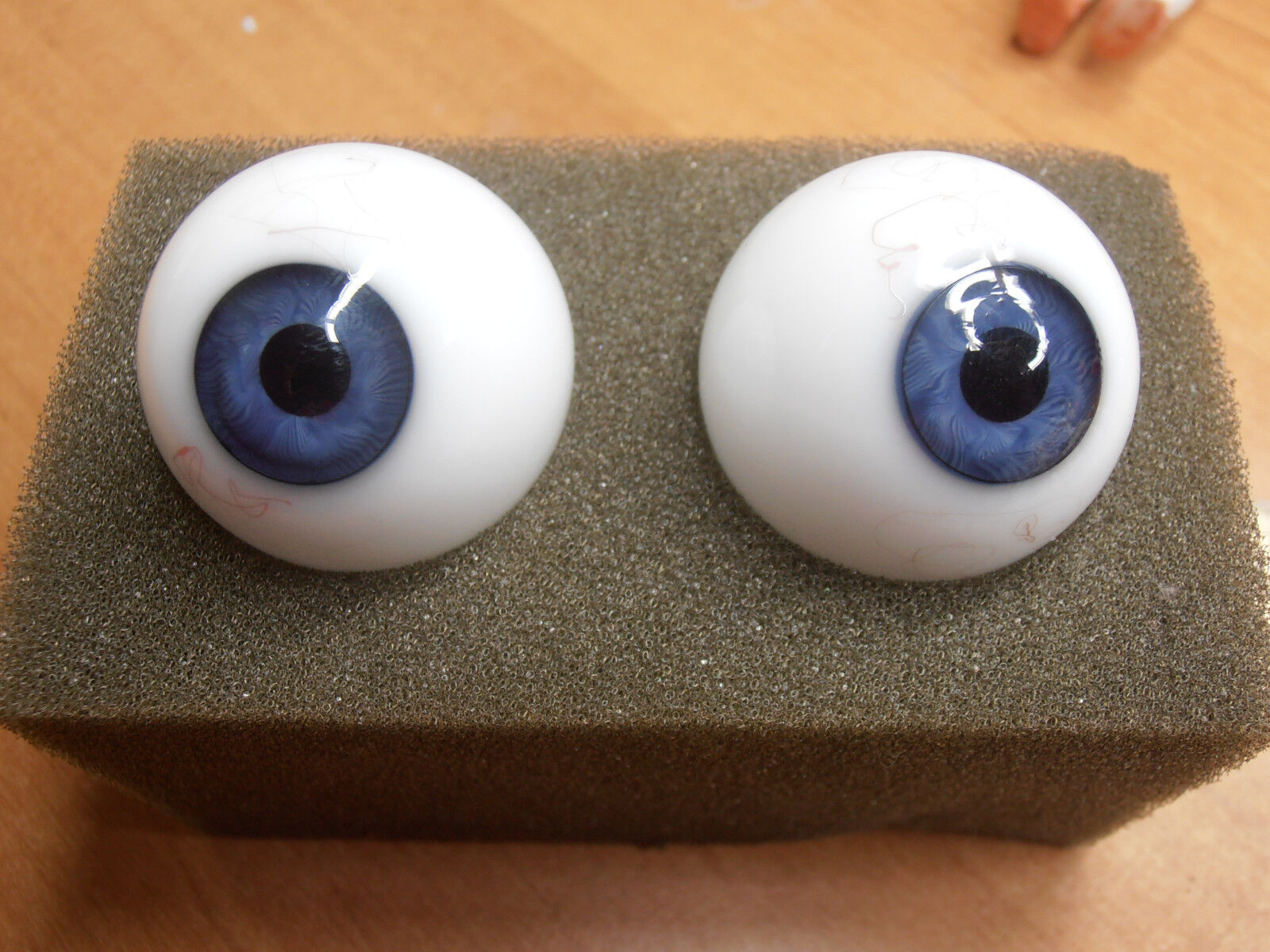 1 pair 2 x  big vintage victorian human eyes glass eyes lauscha 1870-