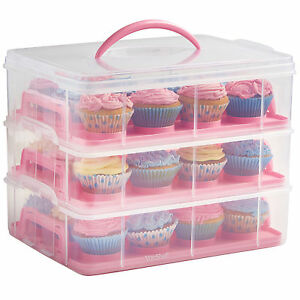 VonShef 3 Tier Pink Cupcake Holder and Cake Storage Carrier Box Container