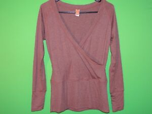 Lucy-Womens-Size-S-Small-Brown-Long-Slv-Shirt-Top