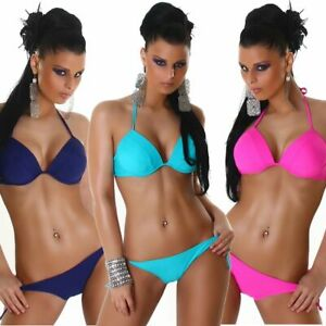 Neckholder Bikini goldfarbene Ringe top Strand Bade Mode Damen Beachwear Größe