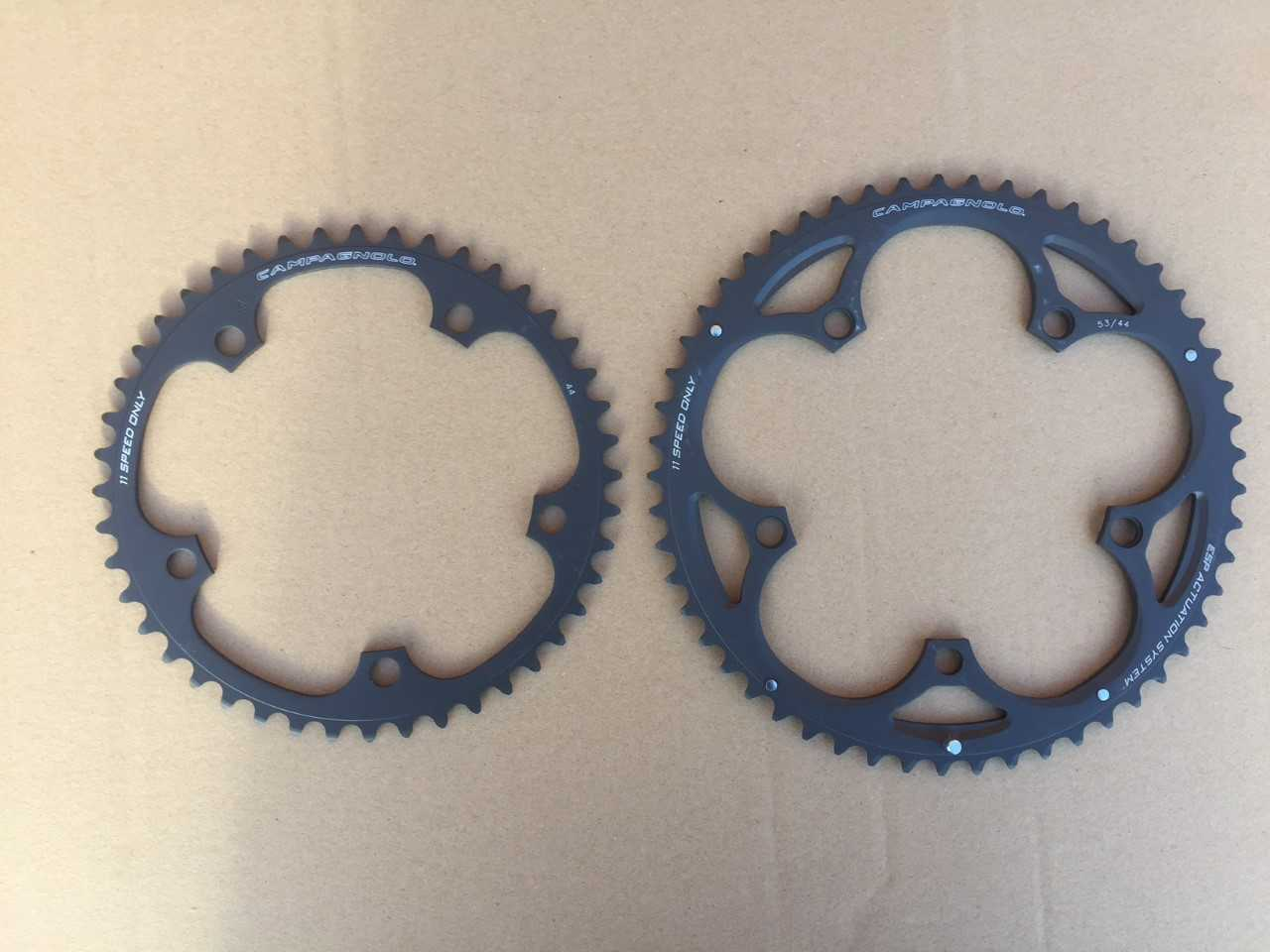 Campagnolo Record 11s Time Trial Triathlon Bike Chainrings 5 Bolt 53 44 or 53 46