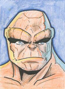 The Thing Original Sketch Card ATC Fan Art Fantastic Four ...