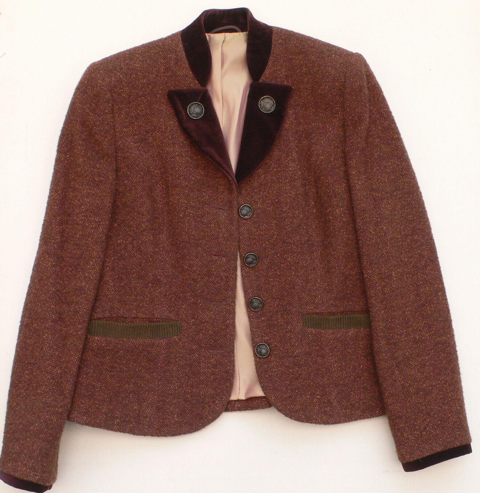 Frankonia Blazer braun Schurwolle Gr. 36 Jacke mit Samt hochwertig