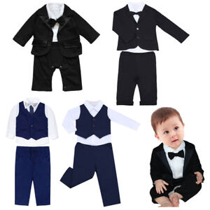 c4619c7ed8b Baby Boy Formal Suit Party Wedding Tuxedo Gentleman Romper Jumpsuit ...