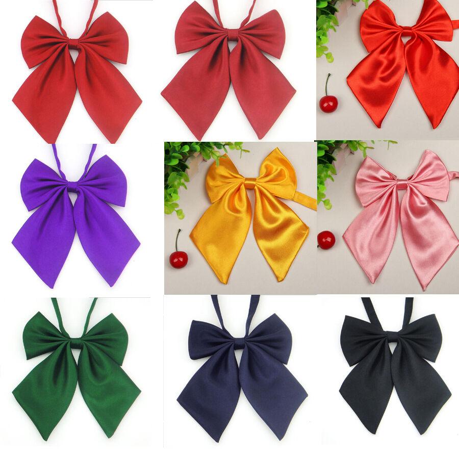 Women Neck Tie Girl Banquet Sailor School Pre-tied Thin Bowtie Bow Party
