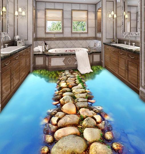 3DStein Wasser Fließen Fototapeten Wandbild Fototapete Tapete Familie DE Lemon