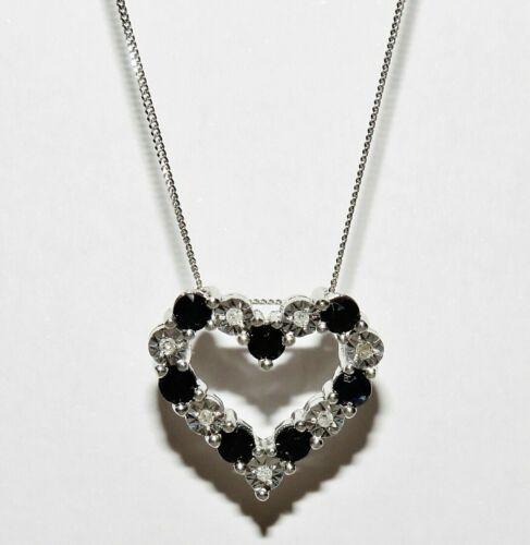 9ct White Gold Sapphire /& Diamond Heart Necklace Pendant 18 inch Chain