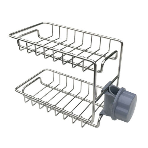 2-Layer Faucet Rack Stainless Steel Hollow Ventilation Drainage Free T0C5