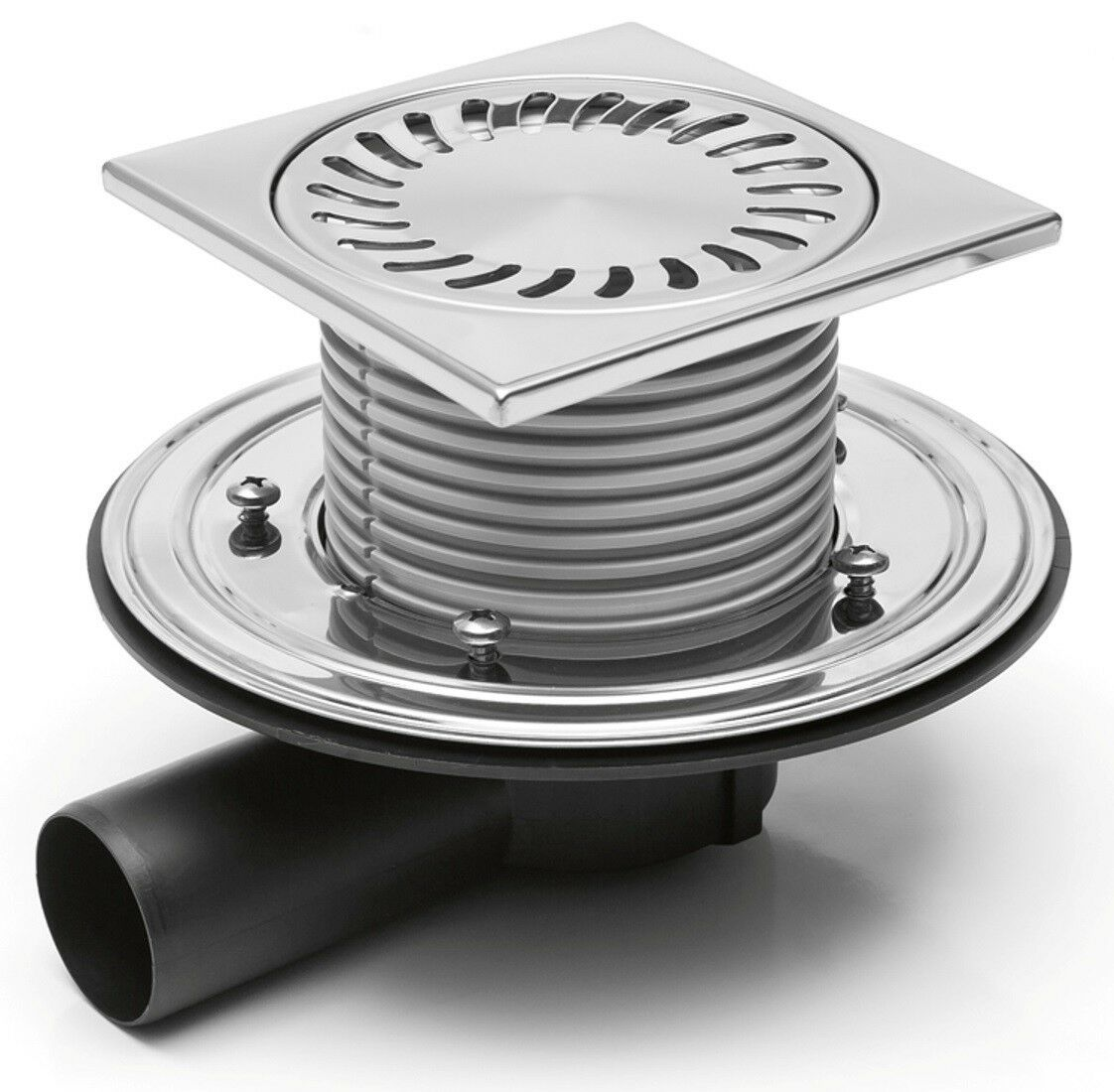 Duschablauf Badablauf 150x150mm Edelstahl DN50 incl Dichtungsmatte (381F+391 1)