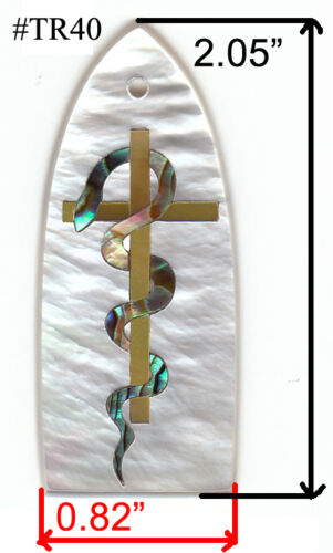 TR7# Truss Rod Cover W Snake//Cross in Abalone /& White Mother of Pearl