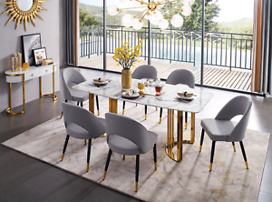 Details about ESF 131 Modern Gold Finish Marble Top Dining Room Set, 5  Pieces