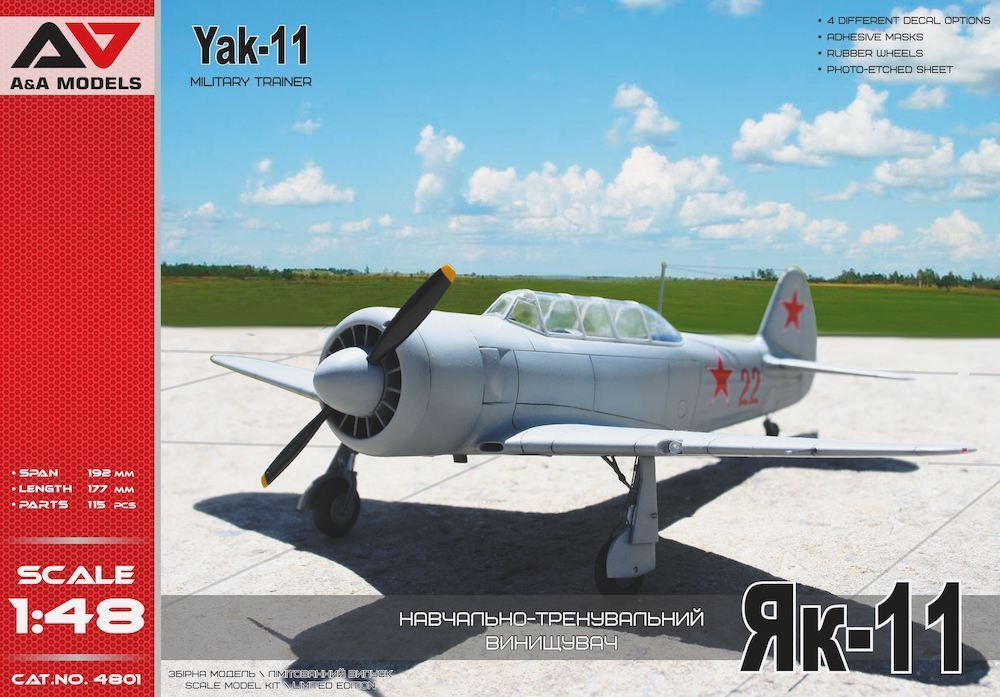 A & A Models 1 48 Yakovlev Yak-11 Military Trainer