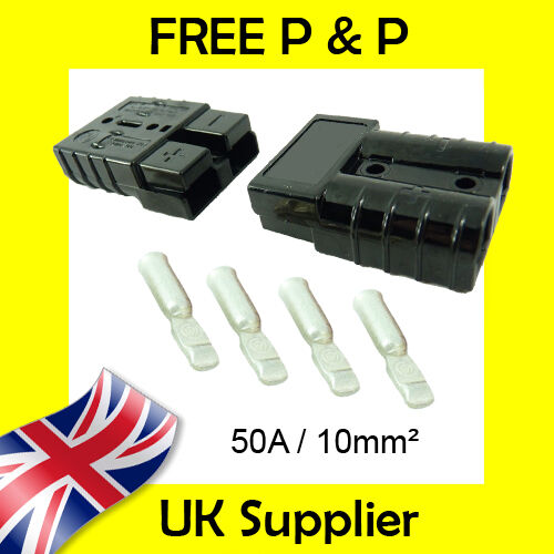 50 AMP Battery Connectors Terminal 10mm² Compatible with Anderson BLACK 50A