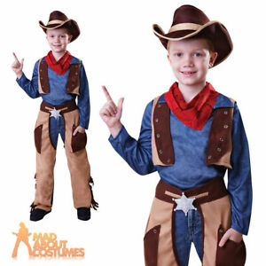 Boys Cowboy Outfit Fancy Dress Costume Age 7-9  World Book Day Period Wild West