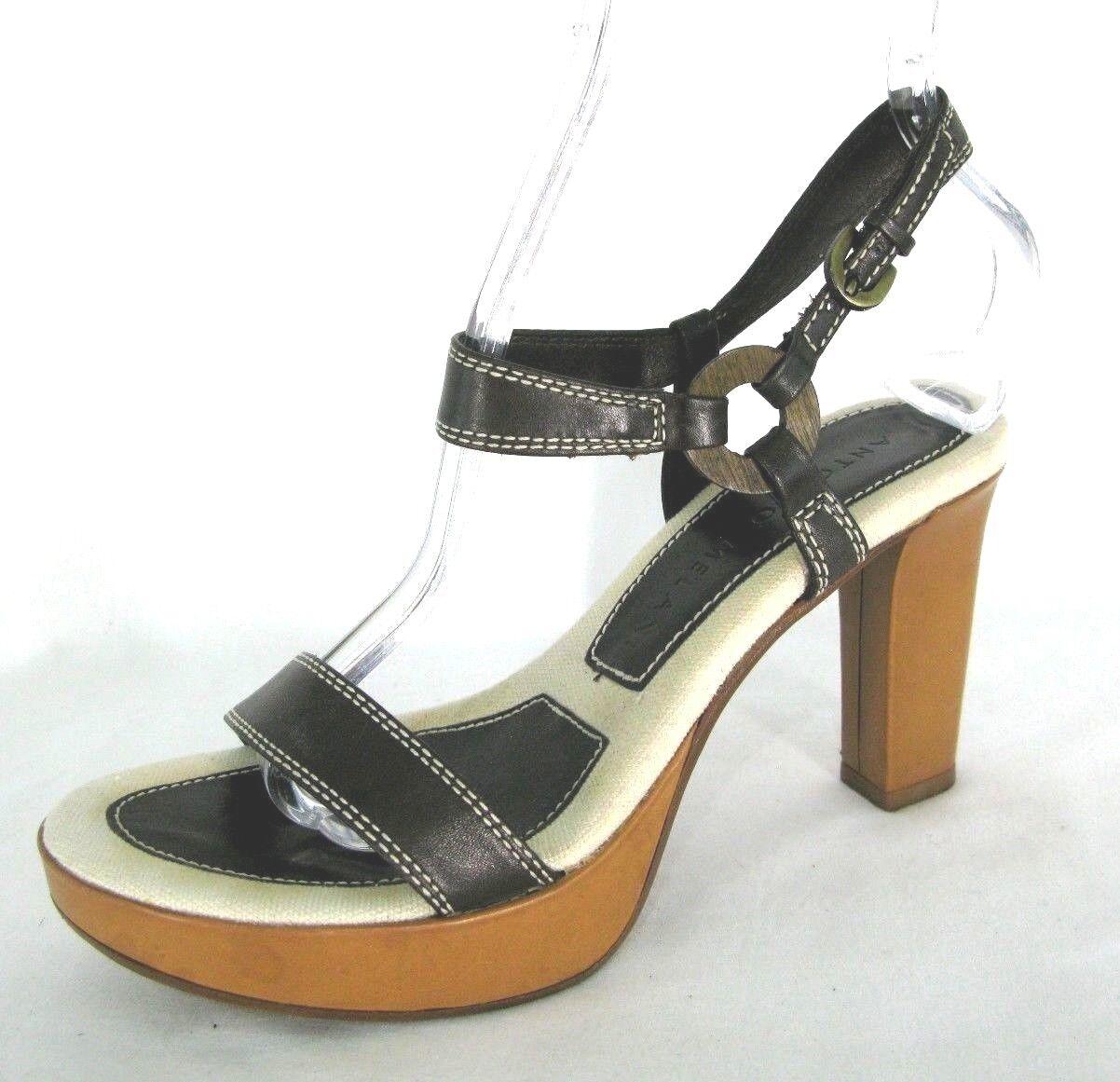 Antonio Melani Shoes Sz 6 Ankle Strap Sandals Heels Platforms Strappy Brown