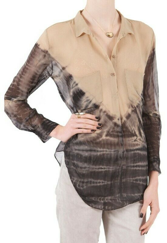 RAQUEL ALLEGRA SILK  BEIGE  WITH grau TIE DYE  BLOUSE SHIRT 2 OR M