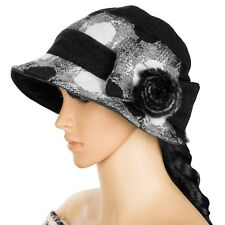 37b5b3ca6ee Black Women Winter Wool Cloche Bucket Hat Dress Church Cap With Bow Flower  Band