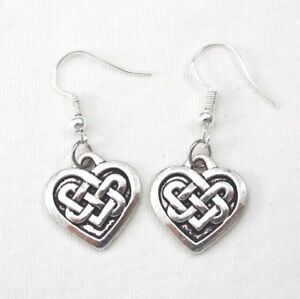 925-Sterling-Silver-Hooks-Vintage-Silver-Alloy-Irish-Love-Celtic-Knot-Earrings