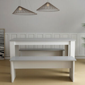 Rectangle Dining Table Set With 2 Benches MDF Grey Top ...