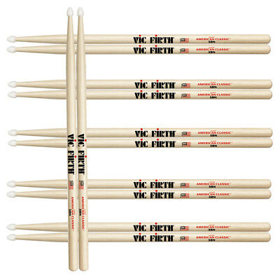 12 Paar original Vic Firth American Classic Hickory 5AN  5A Nylon Sticks *TOP*