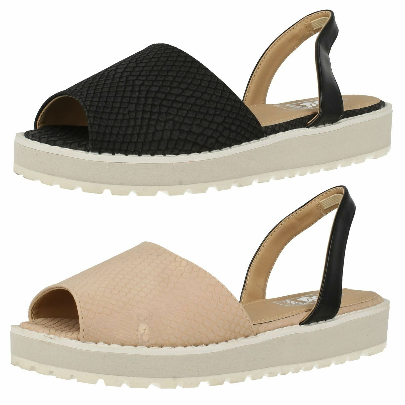 SALE LADIES DOWN TO EARTH SLING BACK FLAT F10324 PEEP TOE CASUAL SANDALS F10324 FLAT 76c215