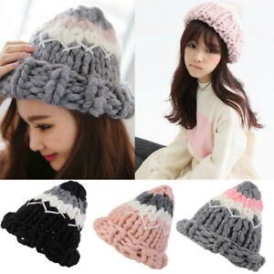 Women Stretch Cable Knit Lined Thick Warm Winter Wool Slouchy Beanie ... 2bfe07e6b791