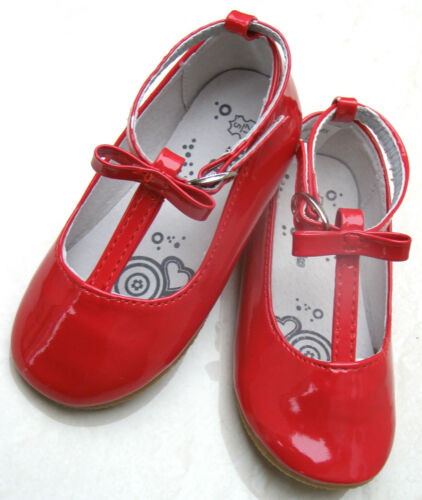 NEW BABY GIRLS PATENT LEATHER LINED PUMPS CHRISTMAS PARTY SHOES SIZES UK 4 5 6
